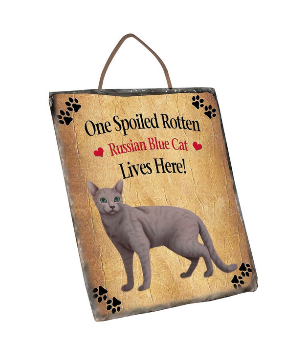 Spoied Rotten Russian Blue Cat Wall Décor Hanging Photo Slate