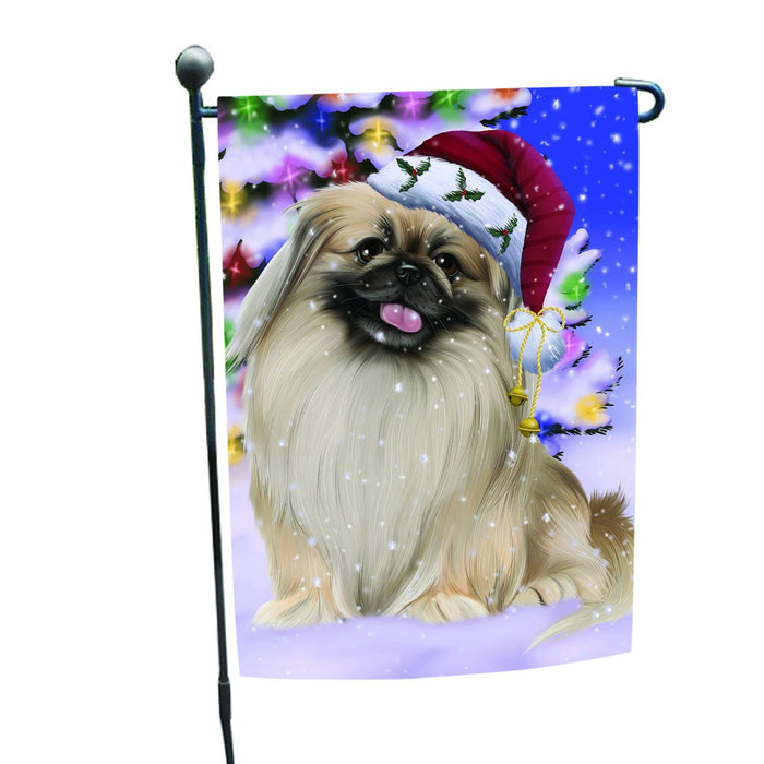 Winterland Wonderland Pekingese Dog In Christmas Holiday Scenic Background Garden Flag