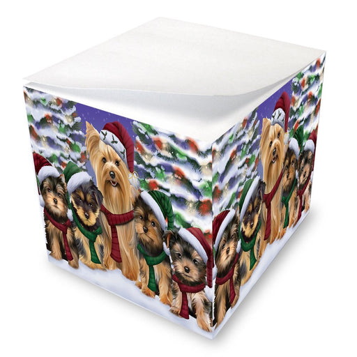 Yorkshire Terriers Dog Christmas Family Portrait in Holiday Scenic Background Note Cube D146