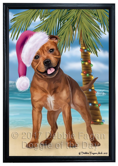 Summertime Happy Holidays Christmas Pit Bull Dog on Tropical Island Beach Framed Canvas Print Wall Art D053