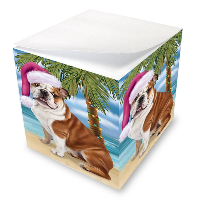 Summertime Happy Holidays Christmas Bulldog Dog on Tropical Island Beach Note Cube D515
