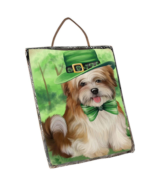 St. Patricks Day Irish Portrait Malti Tzu Dog Wall Décor Hanging Photo Slate SLTH48838