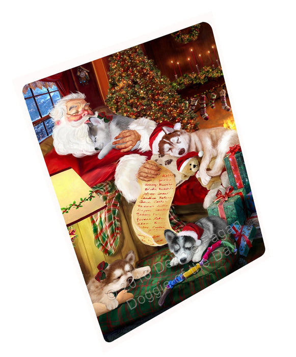 "Siberian Husky Dog And Puppies Sleeping With Santa Magnet Small (5.5"" x 4.25"")"