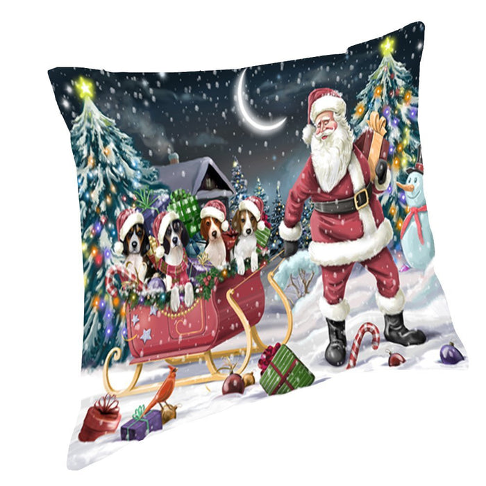 Santa Sled Dogs Christmas Happy Holidays Treeing Walker Coonhound Throw Pillow PIL1320