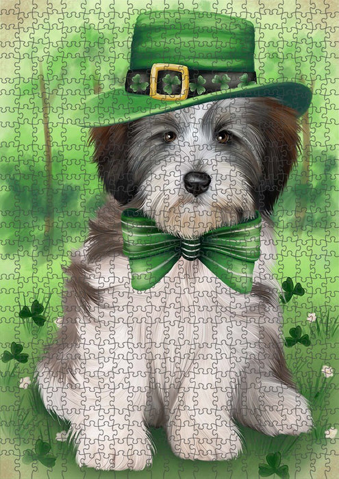St. Patricks Day Irish Portrait Tibetan Terrier Dog Puzzle with Photo Tin PUZL51954
