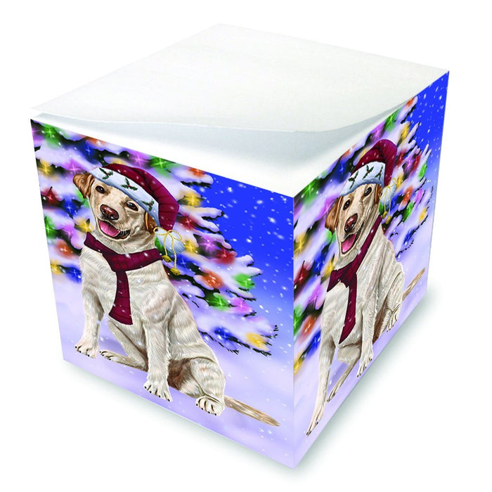 Winterland Wonderland Labrador Dog In Christmas Holiday Scenic Background Note Cube D667
