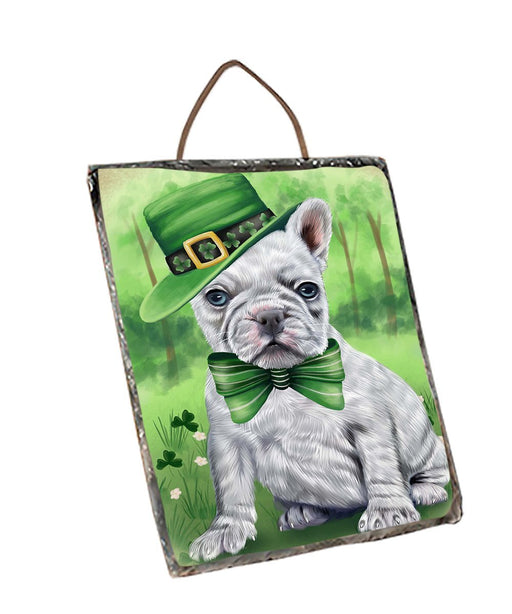 St. Patricks Day Irish Portrait French Bulldog Wall Décor Hanging Photo Slate SLTH48800