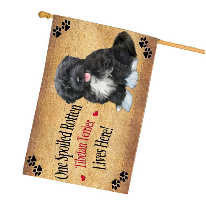 Spoiled Rotten Tibetan Terrier Dog House Flag