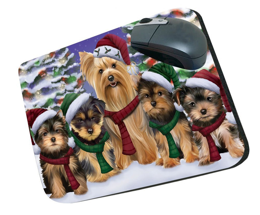 Yorkshire Terriers Dog Christmas Family Portrait in Holiday Scenic Background Mousepad