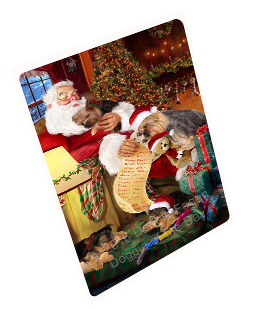 Yokshire Terrier Dog and Puppies Sleeping with Santa Magnet