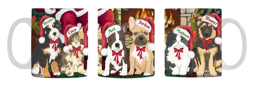 Custom Personalized Cartoonish Pet Photo and Name on Coffee Mug in Fire Holiday Tails Background