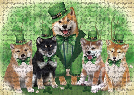 St. Patricks Day Irish Family Portrait Shiba Inus Dog Puzzle with Photo Tin PUZL51903