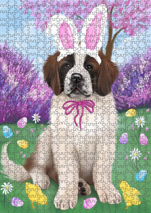 Saint Bernard Dog Easter Holiday Puzzle with Photo Tin PUZL51297