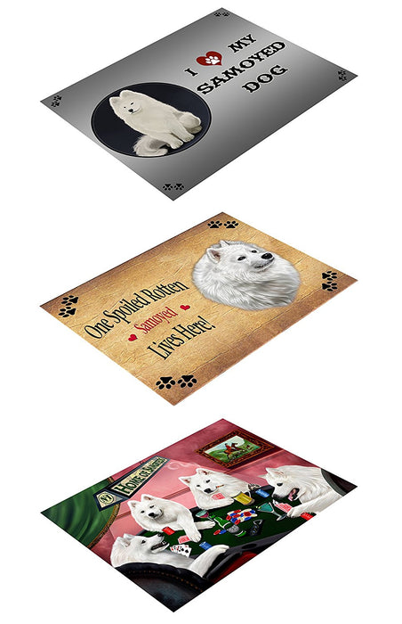 Samoyed Poker Set of 3 Magnets Spoiled Rotten, Poker Dogs and I Love My Dog