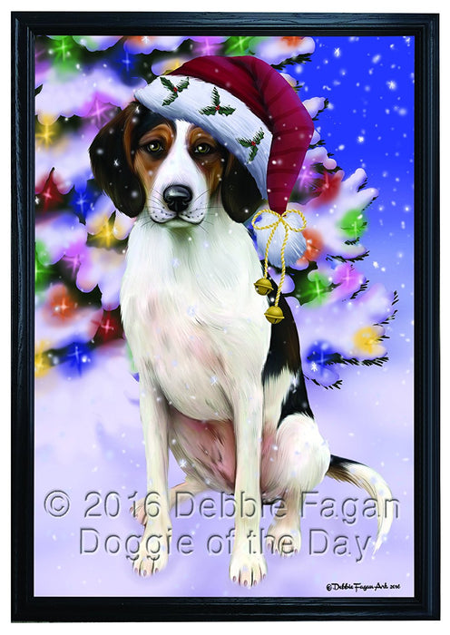 Winterland Wonderland Treeing Walker Coonhound Dog In Christmas Holiday Scenic Background Framed Canvas Print Wall Art