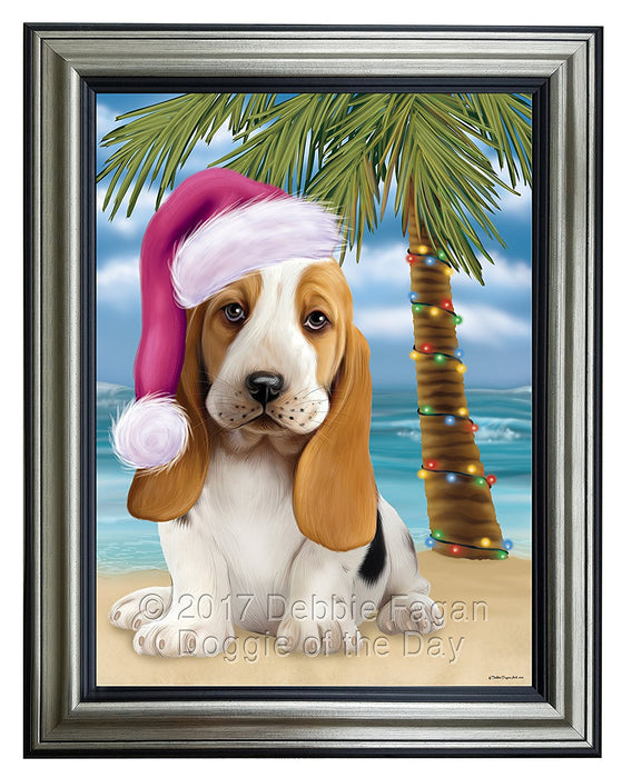 Summertime Happy Holidays Christmas Basset Hounds Dog on Tropical Island Beach Framed Canvas Print Wall Art