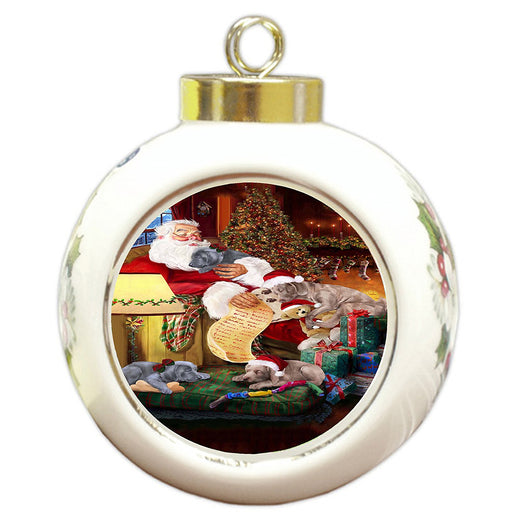 Weimaraner Dog and Puppies Sleeping with Santa Round Ball Christmas Ornament