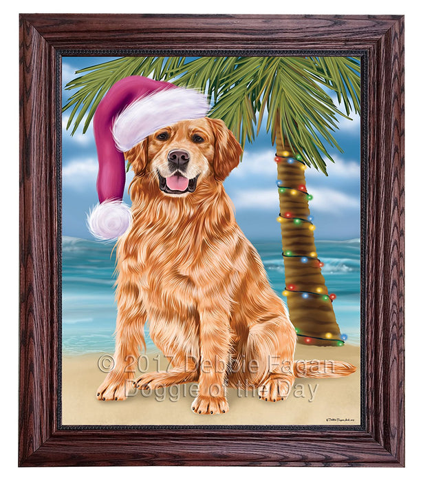 Summertime Happy Holidays Christmas Golden Retrievers Dog on Tropical Island Beach Framed Canvas Print Wall Art