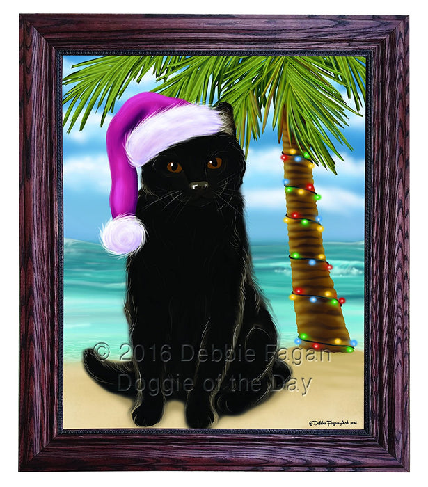 Summertime Happy Holidays Christmas Black Cat on Tropical Island Beach Framed Canvas Print Wall Art