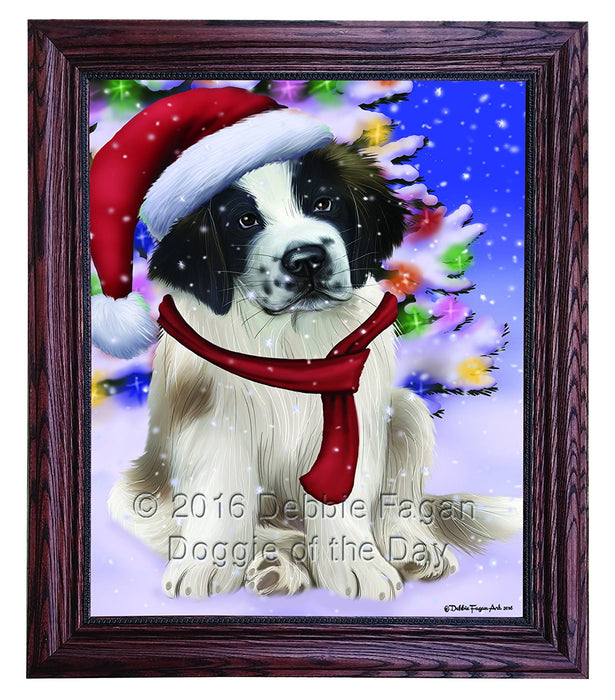 Winterland Wonderland Saint Bernard Dog In Christmas Holiday Scenic Background Framed Canvas Print Wall Art