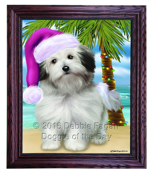 Summertime Happy Holidays Christmas Bolognese Dogs on Tropical Island Beach Framed Canvas Print Wall Art