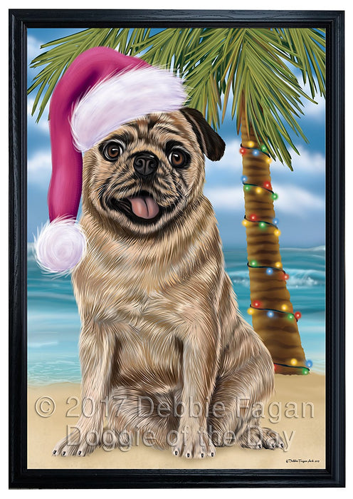 Summertime Happy Holidays Christmas Pugs Dog on Tropical Island Beach Framed Canvas Print Wall Art