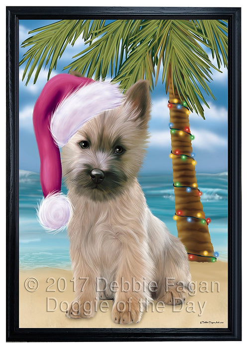 Summertime Happy Holidays Christmas Cairn Terrier Dog on Tropical Island Beach Framed Canvas Print Wall Art