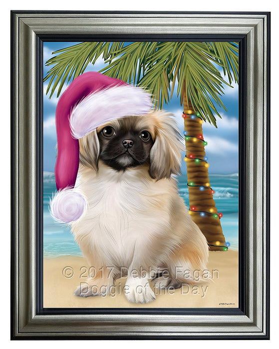 Summertime Happy Holidays Christmas Pekingese Dog on Tropical Island Beach Framed Canvas Print Wall Art