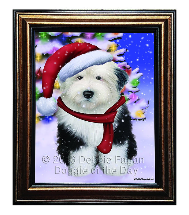 Winterland Wonderland Old English Sheepdog Dog In Christmas Holiday Scenic Background Framed Canvas Print Wall Art