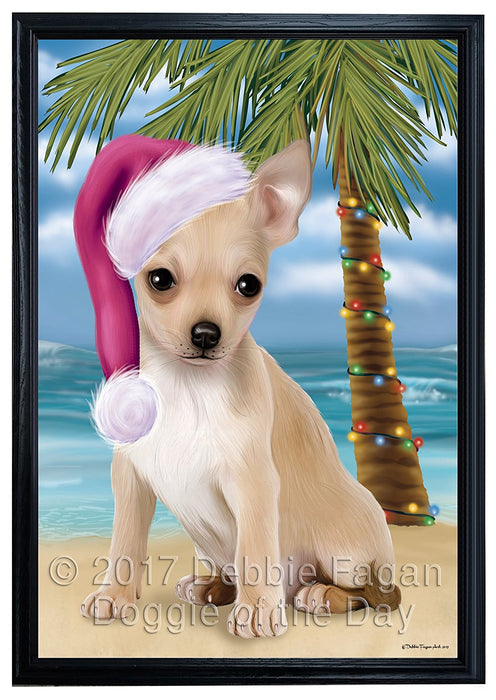 Summertime Happy Holidays Christmas Chihuahua Dog on Tropical Island Beach Framed Canvas Print Wall Art
