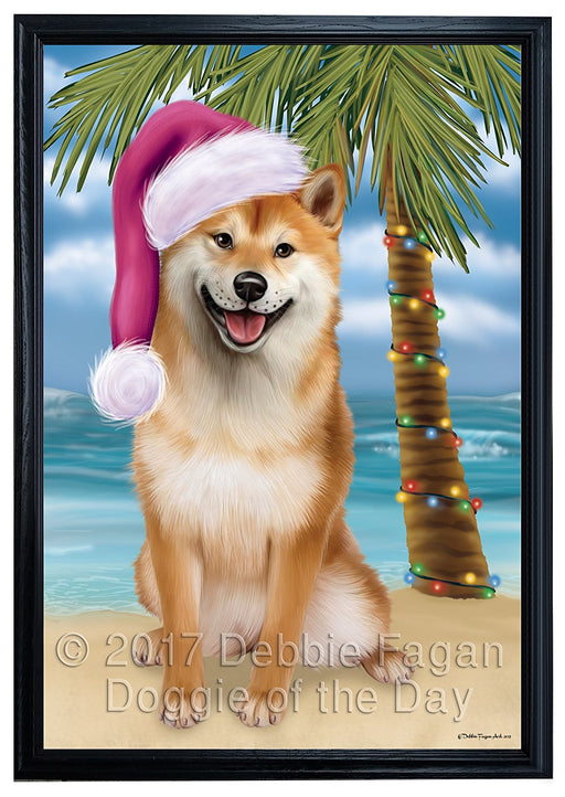 Summertime Happy Holidays Christmas Shiba Inu Dog on Tropical Island Beach Framed Canvas Print Wall Art