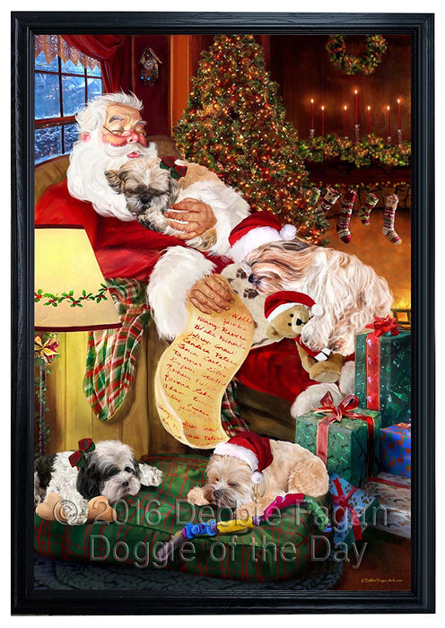Shih Tzu Dog and Puppies Sleeping with Santa Framed Canvas Print Wall Art