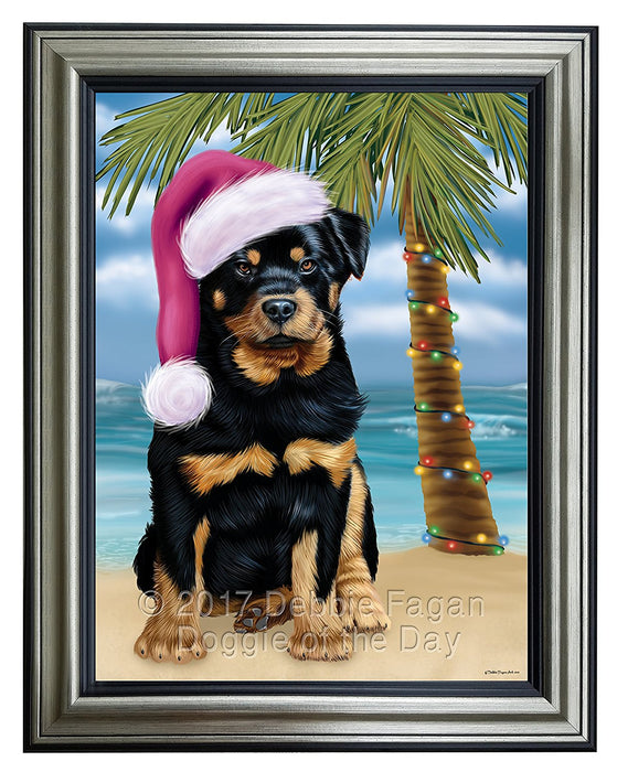 Summertime Happy Holidays Christmas Rottwielers Dog on Tropical Island Beach Framed Canvas Print Wall Art
