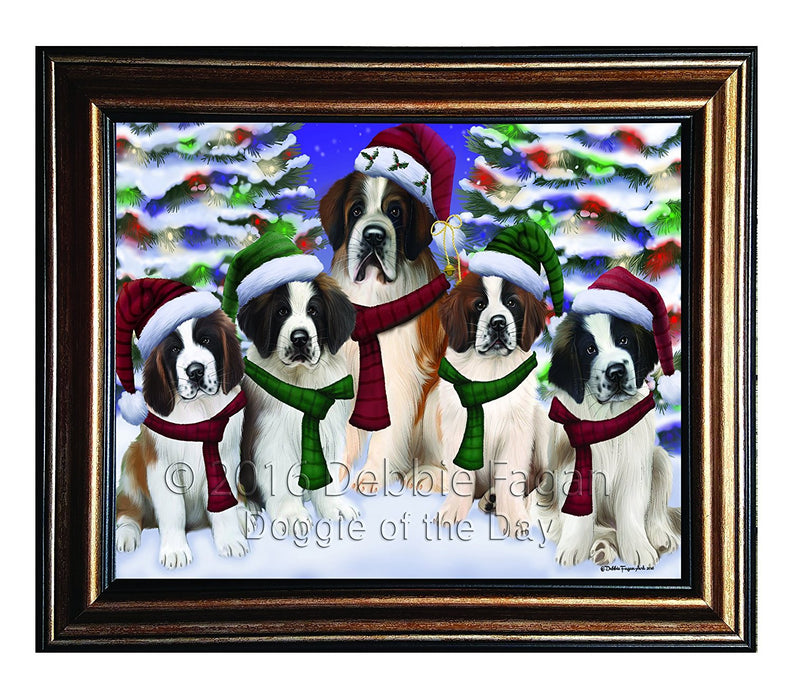 Saint Bernard Dog Christmas Family Portrait in Holiday Scenic Background Framed Canvas Print Wall Art