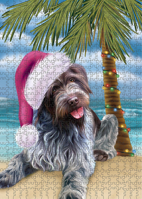Summertime Wirehaired Pointing Griffon Dog on Beach Christmas Puzzle with Photo Tin PUZL1413