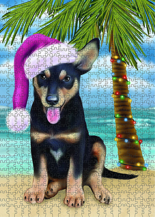 Summertime Australian Kelpie Puppy on Beach Christmas Puzzle with Photo Tin PUZL1143