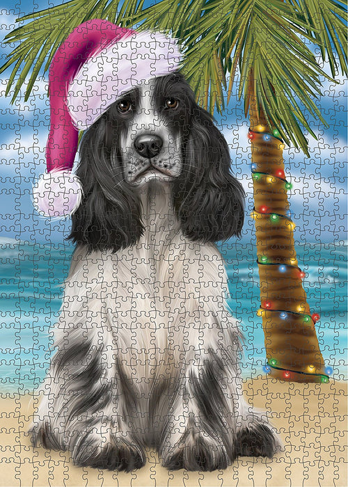 Summertime Cocker Spaniel Dog on Beach Christmas Puzzle with Photo Tin PUZL1221