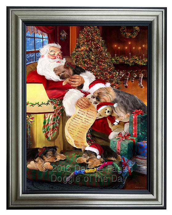 Yokshire Terrier Dog and Puppies Sleeping with Santa Framed Canvas Print Wall Art