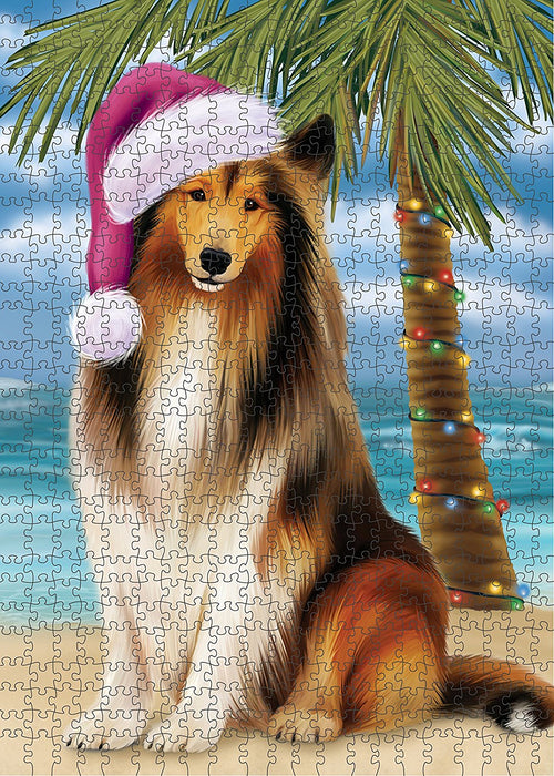 Summertime Rough Collie Dog on Beach Christmas Puzzle with Photo Tin PUZL1365