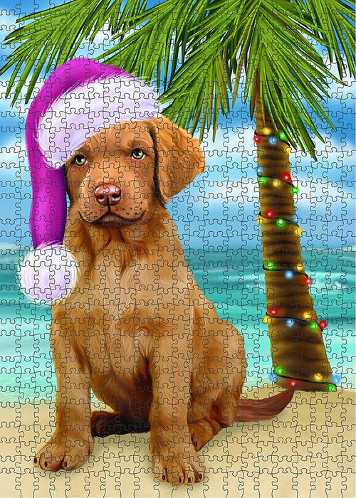 Summertime Chesapeake Bay Retriever Puppy on Beach Christmas Puzzle with Photo Tin PUZL1215