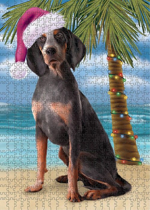 Summertime American English Coonhound Dog on Beach Christmas Puzzle with Photo Tin PUZL1110