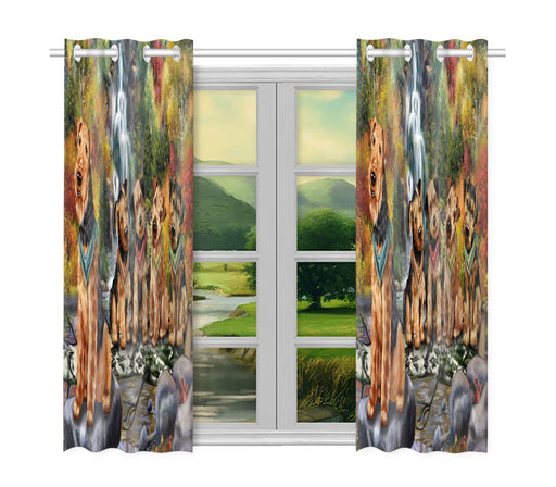 Scenic Waterfall Airedale Dogs Window Curtain