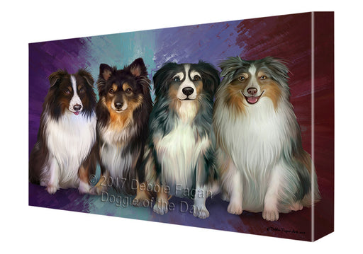 4 Australian Shepherds Dog Canvas Wall Art CVSA49818