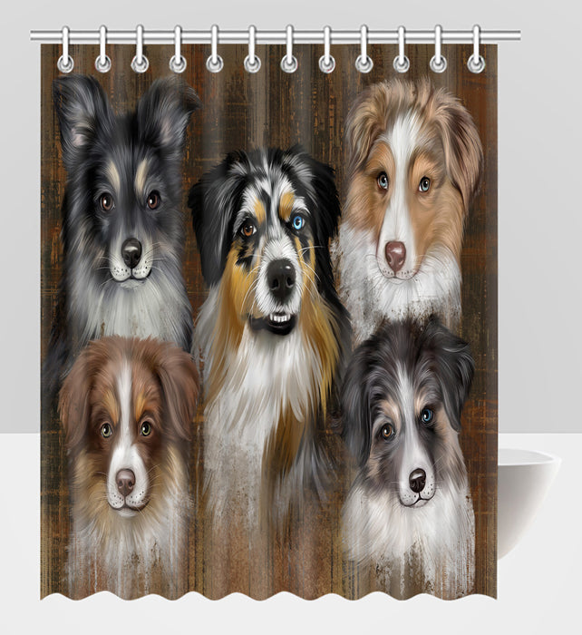 Rustic Australian Shepherd Dogs Shower Curtain