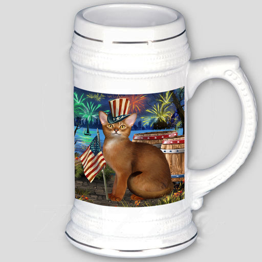 4th of July Independence Day Firework Abyssinian Cat Beer Stein BST55515