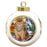 Scenic Waterfall Abyssinian Cat Round Ball Christmas Ornament RBPOR54787