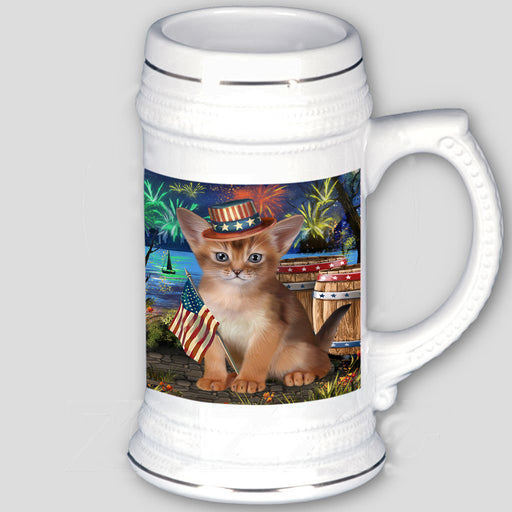 4th of July Independence Day Firework Abyssinian Cat Beer Stein BST55516