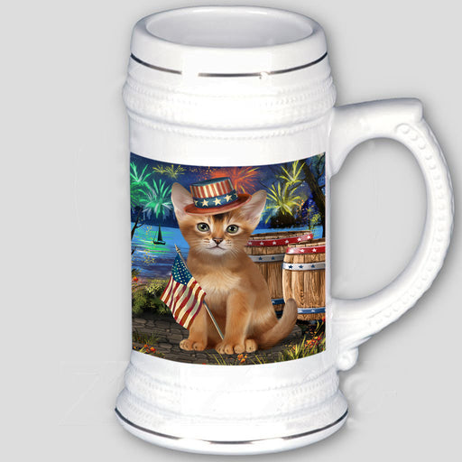 4th of July Independence Day Firework Abyssinian Cat Beer Stein BST55517
