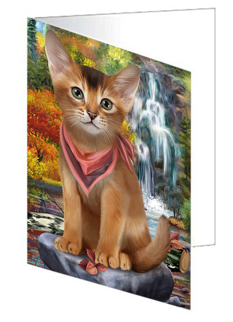 Scenic Waterfall Abyssinian Cat Note Card NCD68396