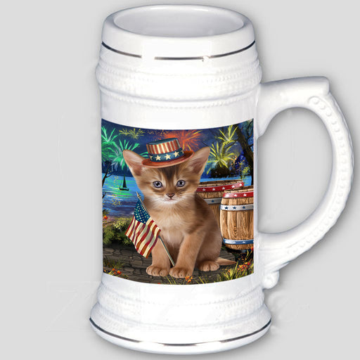 4th of July Independence Day Firework Abyssinian Cat Beer Stein BST55518